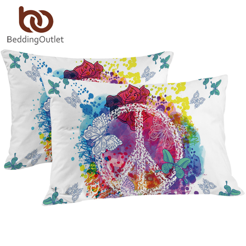 BeddingOutlet Watercolor Butterfly Pillowcase Colorful Printed <font><b>Pillow</b></font> <font><b>Case</b></font> Peace Design Bedding <font><b>Pillow</b></font> Cover 50x75cm <font><b>50x90cm</b></font> image