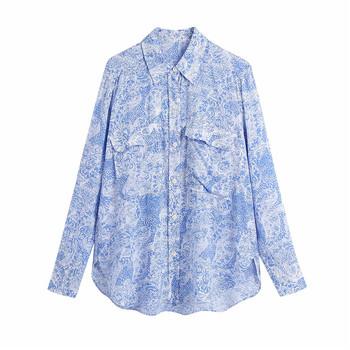 2021 Za kieszeń niebieski nadruk koszula kobiety w stylu Vintage z długim rękawem asymetryczna bluzka kobieta modny guzik w górę luźne koszulki Plus rozmiar góry tanie i dobre opinie UVRCOS CN (pochodzenie) POLIESTER REGULAR Lato 2021 średniej wielkości wyszywana Proste BB1769 z włókien syntetycznych