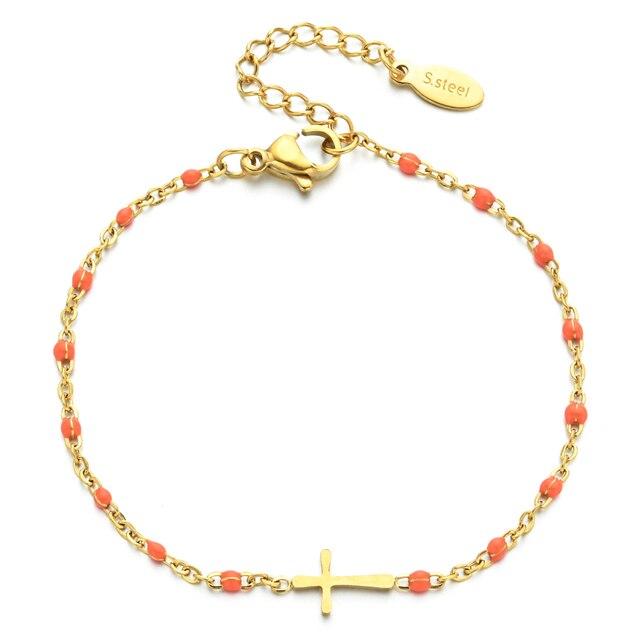 ZMZY Boho Thin Style Fashion Chain Jesus Christian Stainless Steel Bracelet Women Gold Charm Cross Bracelet Girls Jewelry 6
