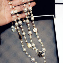 Long Simulated Pearl Necklace For Women Flower Double Layer collane lunghe donna Camellia maxi necklace Party Gift