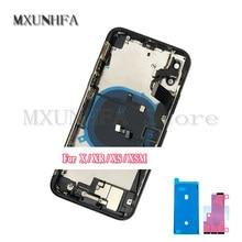 Completa volta habitação capa para o iphone x xr xs max porta da bateria quadro médio chassis caixas traseiras com cabo flexível montagem substituir