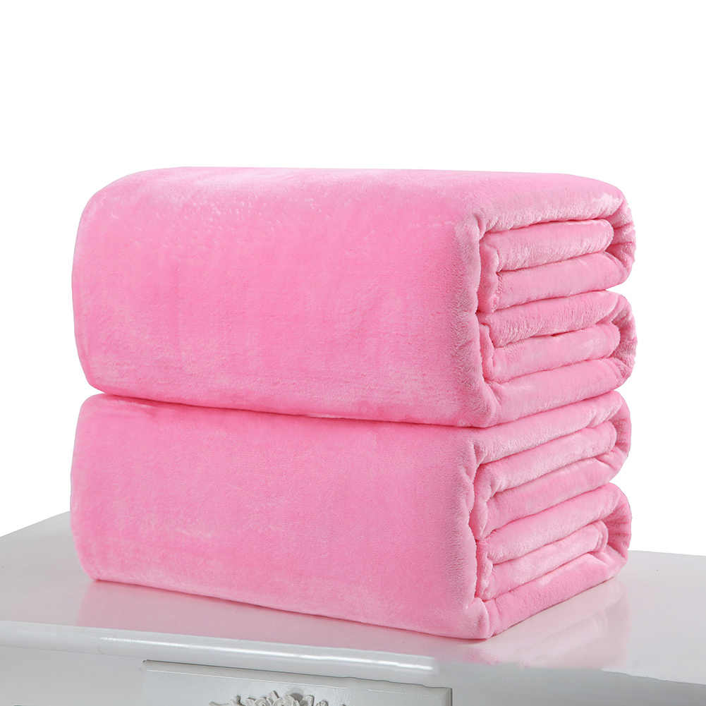 Soft Warm Solid Color Coral Fleece Flannel Blanket Autumn And Winter Warm Sheets Kids Blankets Sofa Office Home Textile 50*70cm