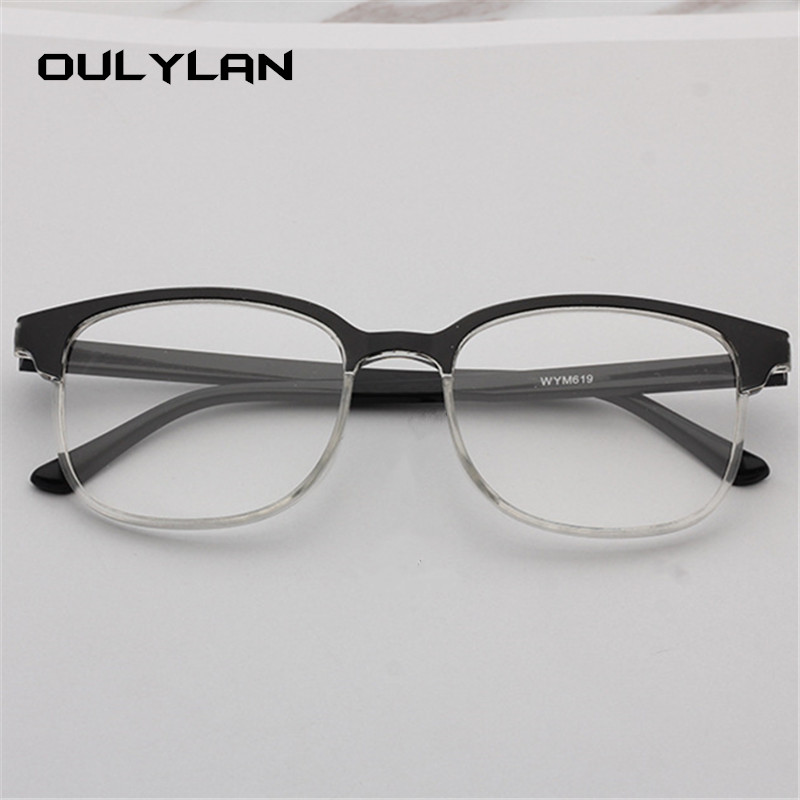 Oulylan Retro Reading Glasses Men Retro Half Frame Presbyopic Eyeglasses Anti Fatigue