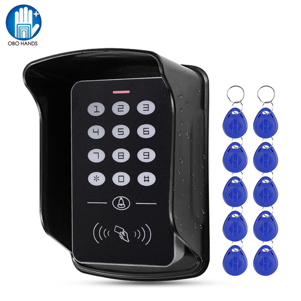 OBO Standalone Access Control Keypad RFID Keyboard System Waterproof Outdoor Cover 125KHz Controller Card Reader 10pcs Keyfobs