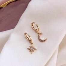 2020 Fashion Classic Cross Planet for Women Dangle Earrings Asymmetric Earrings Of Star And Moon Geometric Female Korean Jewelry a suit of sweet asymmetric bar cross earrings for women