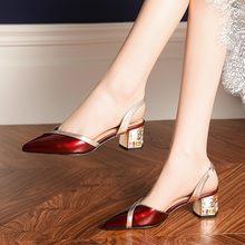 MLJUESE 2020 delle donne sandali in pelle di mucca punta a punta vino di colore rosso di cristallo di alta tacchi spiagge sandali vestito da partito cerimonia nuziale di formato 42