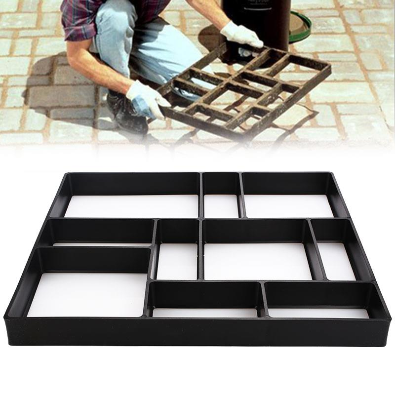 DIY Garden Path Maker Mold Concrete  Molds Beautiful Riginality Ground Road Decorate Practic Plastic Black Slate Cement Stones