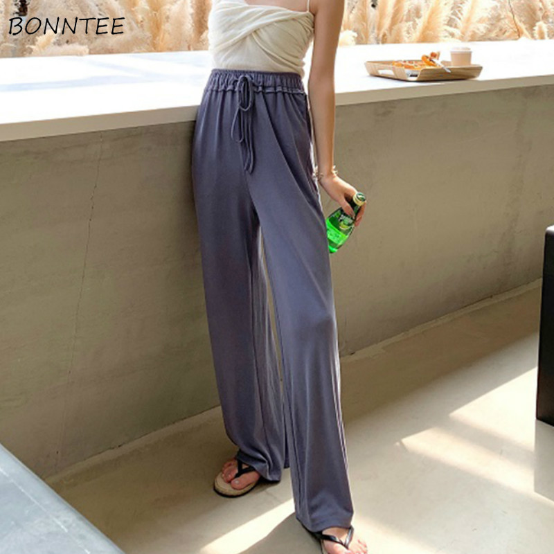 Pants Women Summer Solid Thin High Waist Womens Straight Korean Style Trendy All-match Casual Work Wear Popular Mopping Pant New