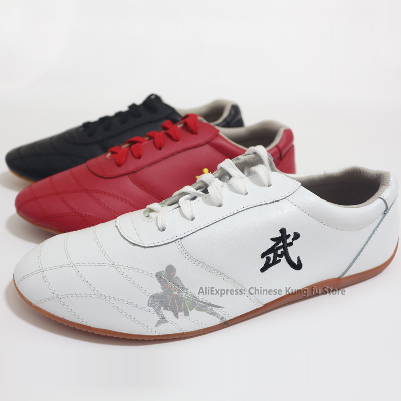 Unisex Soft Leather Kung fu Tai chi Shoes Martial arts Wushu Sports Sneakers with Embroidery