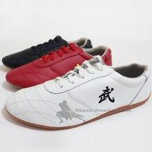 Chaussures en cuir souple unisexe Kung fu Tai chi, baskets de sport avec broderie, arts martiaux Wushu