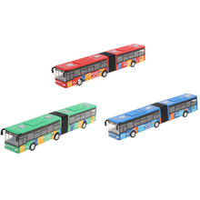 1:64 18cm Alloy Tram Bus Model Pull Back Two Parts for Home Table Decor