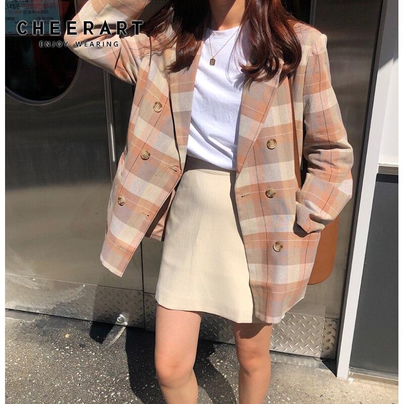 CHEERART Plaid Casual Blazer Women Loose Blazers And Jackets Korean Long Blazers Femme 2019 Autumn Overcoat