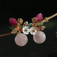 Bebeoso handmade original design earrings Cute pink Morgan stone flower series candy colored earrings for women Fashion jewelry