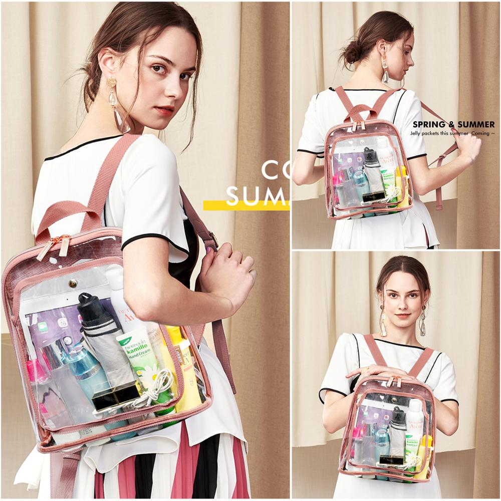 Clear Bag Women Transparent Mini Backpack Fashion School Bag for Teenager Girls PVC Waterproof Lightweight Travel Rucksack Small