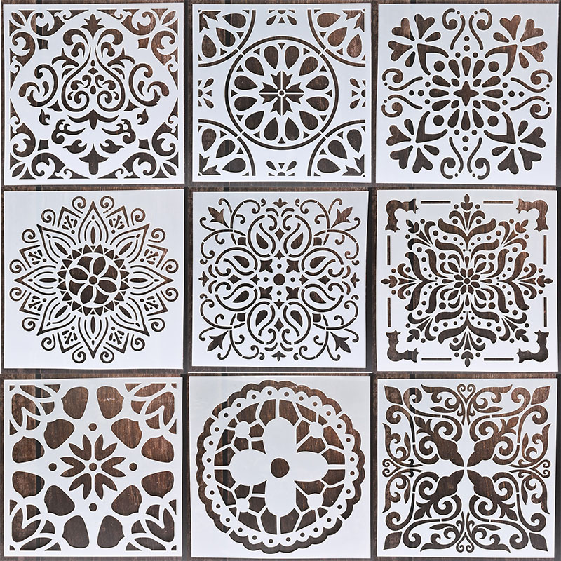 1pc 15*15 estênceis mandala diy decoração de casa desenho a laser corte modelo parede estêncil pintura para telhas de madeira tecido