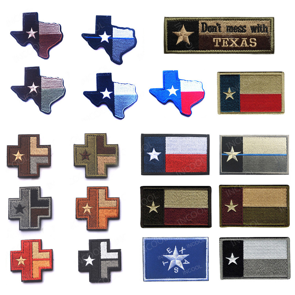 State of Texas Flag Embroidered Patches Don't Mess With Texas Medic Map Tactical Military Patch Skull Embroidery Badges