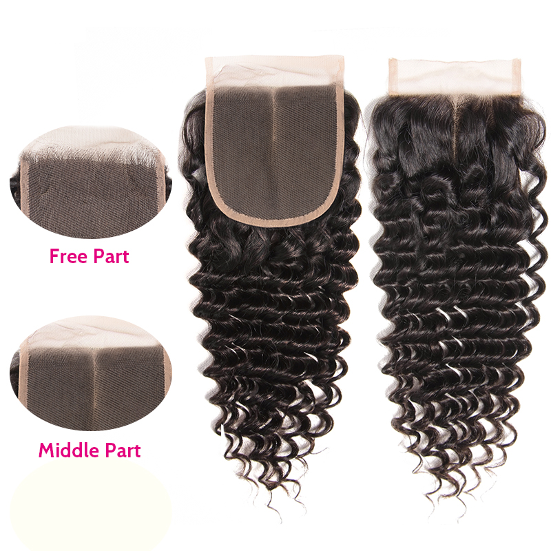 Unice Hair Brazilian Deep Wave Lace Closure 10-20 Inch Free Middle Part 4x4 Swiss Lace Human Hair Closure Remy Hair