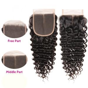 Image 2 - Unice cabelo brasileiro onda profunda fechamento do laço 10 20 Polegada parte do meio livre 4x4 laço suíço fechamento do cabelo humano remy cabelo