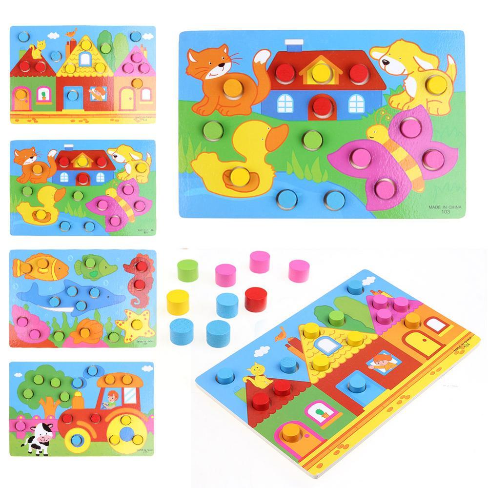 Juguetes educativos para niños tablero de cognición colorido Montessori niños rompecabezas de Madera Juguetes de Color juego de mesa juguetes de madera 3D puzle bebé juguetes de madera juguetes educativos para primera infancia atrapa gusano juego de Color de fresa capacitativa capacidad de agarre divertido
