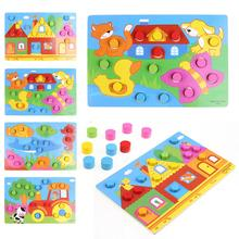 Kids Educational Toys Colorful Cognition Board Montessori Children Wooden Jigsaw Puzzle Toys Color Match Game Board