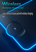 LED Light Mouse Pad Wireless Charger for IPhone Huawe Gaming Accessories Desk Mat Gaming Mouse Pad Computer Keyboard Non-slip