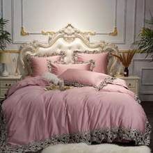 33 Luxury Pink Blue Wine Red Egyptian Cotton European Palace Bedding Set Queen King Lace Duvet Cover Bed sheet/Linen Pillowcases(China)