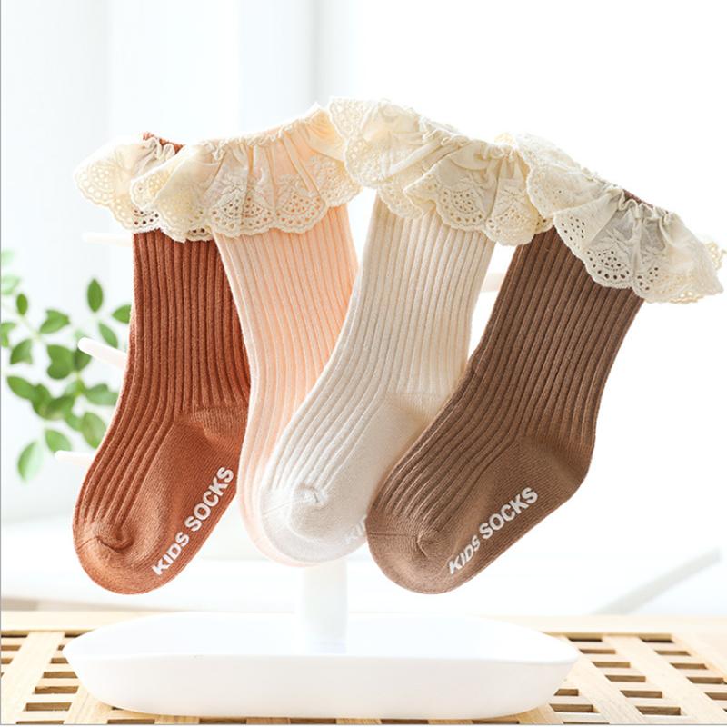 Baby socks New Kids Toddlers Girls  Knee High Long Soft Cotton Lace Baby Children Socks Baby Girl socks 0 to 3 years 2