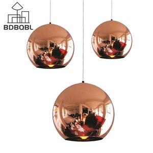 BDBQBL современные зеркальные стеклянные шаровые подвесные светильники, шар, абажур, Подвесная лампа, осветительный прибор, светодиодный свет...