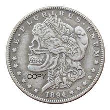 Hobo Morgan Dollar 1921 Череп Зомби Скелет разных типов, задняя Посеребренная копия монет