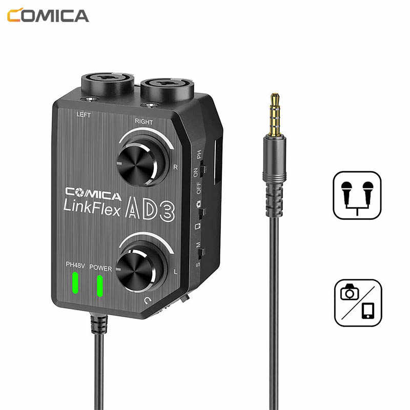 COMICA AD3 2-channel XLR/3.5mm Microphone Preamp Mixer for DSLR Cameras Camcorders iPhone iPad Mac and Android Smartphones