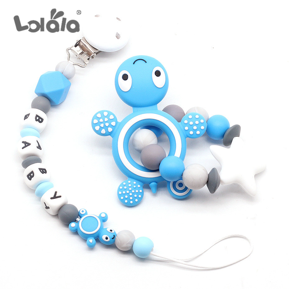 NEW Personalized Name Silicone Teething Pacifier Clip BPA Free Beads Silicone Pacifier Chain Holder Nipple Baby Rattles Chew Toy
