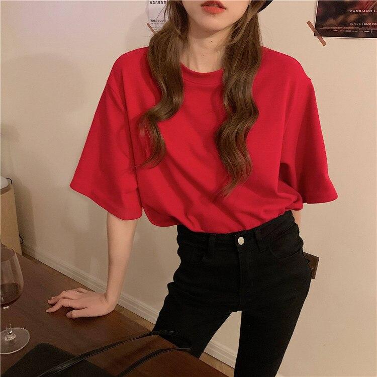 H1f4ceb34606042debcb423d35c659b43Q - Summer O-Neck Short Sleeves Cotton Basic Solid T-Shirt