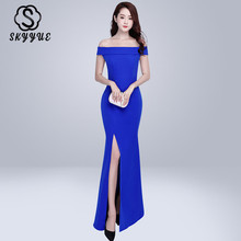 Skyyue Solid Split Boat Neck Floor Length Evening Dress Robe De Soiree Short Sleeve Women Party Dresses Formal Gowns 2019 C214