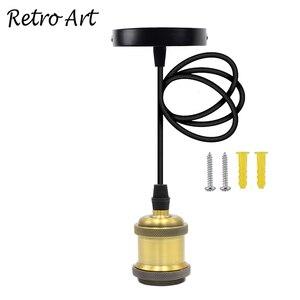 Image 1 - Prosty wisiorek zestaw oświetleniowy E27 uchwyt lampy z przewód tekstylny drutu i sufit wstał zestaw przewodów do Lamp