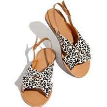 Women Leopard Sandals  Print Denim Knot Shallow Back Strap Flats Sandals Fashion Beach Ladies Cross Tied 2020 Footwear Plus Size cross strap back zipper sandals