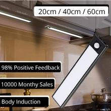 20/40/60cm sob a luz do armário pir sensor de movimento térmico led usb recarregável ultra fino alumínio escudo lâmpada luz da noite