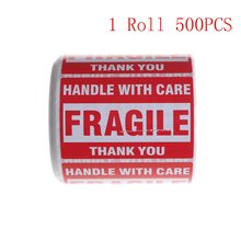 500Pcs/Roll Packing Warning Stikcer FRAGILE Handle With Care With THANK YOU Shipping