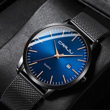 CRRJU moda męskie szczupłe zegarki Ultra cienki fajny zegarek kwarcowy mężczyźni data siateczkowy pasek wodoodporny zegarek sukienka czarny Relogio Masculino tanie tanio 24cm Moda casual QUARTZ 3Bar Klamra CN (pochodzenie) Ze stopu Hardlex Kwarcowe Zegarki Na Rękę Nie pakiet STAINLESS STEEL