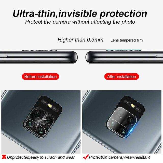 3Pcs Camera Lens Glass For Xiaomi Redmi Note 10 9s 7 8 9 Pro 9T 8T 9C Screen Protector poco F3 f2 X3 Pro Glass For Mi 11i lite 3