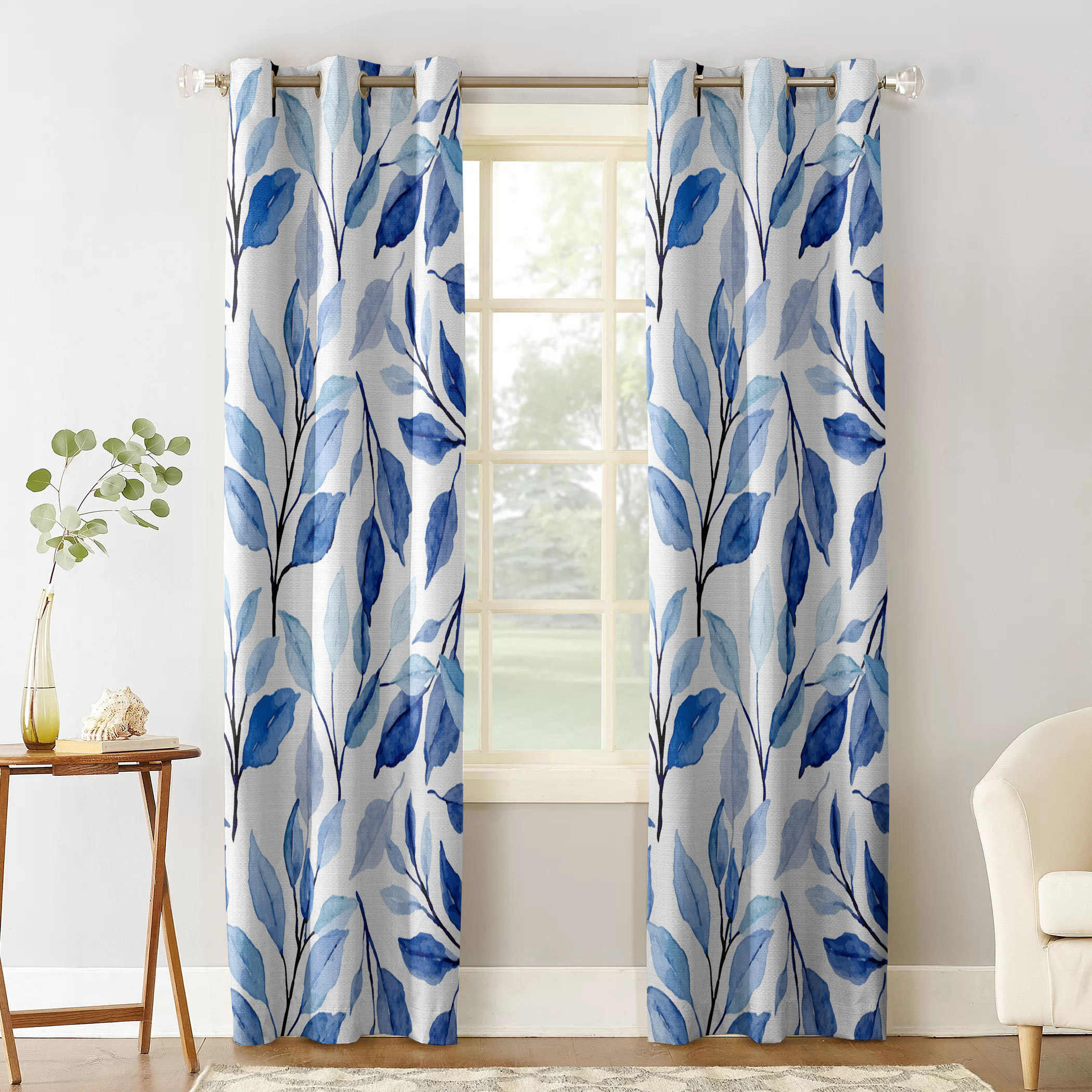 Multi Size Leaves Watercolor Ethnic Style Indigo Window Curtains Polyester Fabric Living Room Curtain Home Decor Curtains Aliexpress
