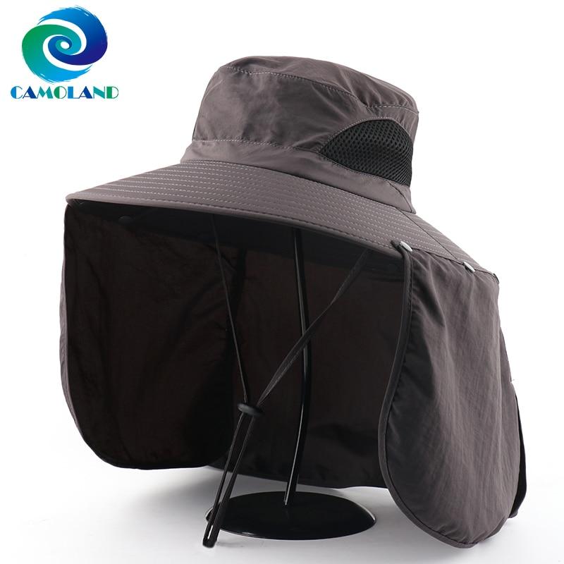 CAMOLAND 2 IN 1 Waterproof Bucket Hat Women Men Summer UPF 50+ Sun Hat With Neck Flap Outdoor Wide Brim Hiking Fishing Caps