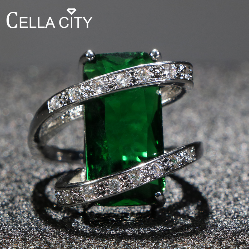 Cellacity 925 silver Ring for Women with 10*20mm Rectangle Emerald Gemstones Silver Jewelry Anniversary Party Gift size 6-10(China)