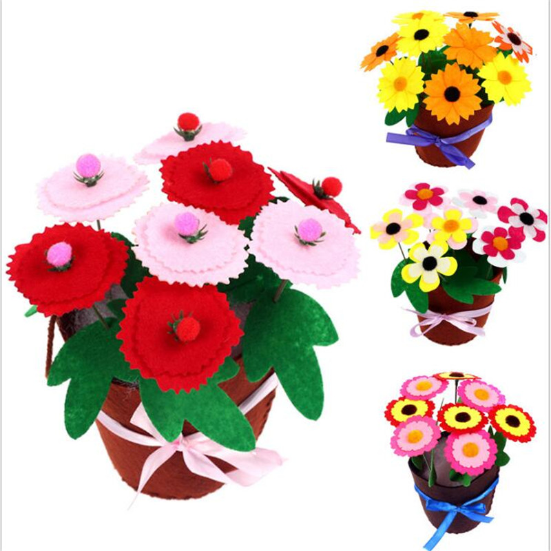 Felt DIY Crafts Kids DIY Flower Pot Potted Plant Kindergarden Learning Education Toys Teaching Aids Toy Arts Crafts And Sewing
