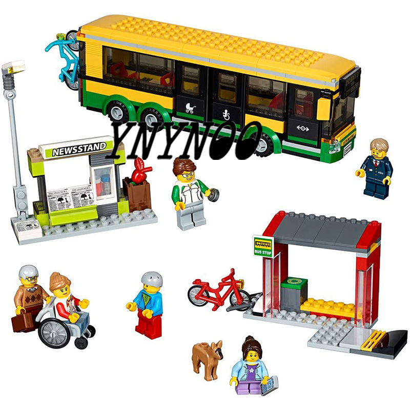 02078 60154 Compatible Legoinglys City Town Bus Station Classic Marvel Building Blocks 377pcs Newsstand Model Bricks Toys