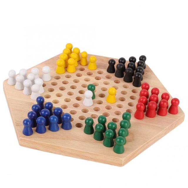 Jeu de dames chinois en bois conseil éducatif enfants classique Halma jeu de dames chinois stratégie famille jeu pièces Backgammon 2