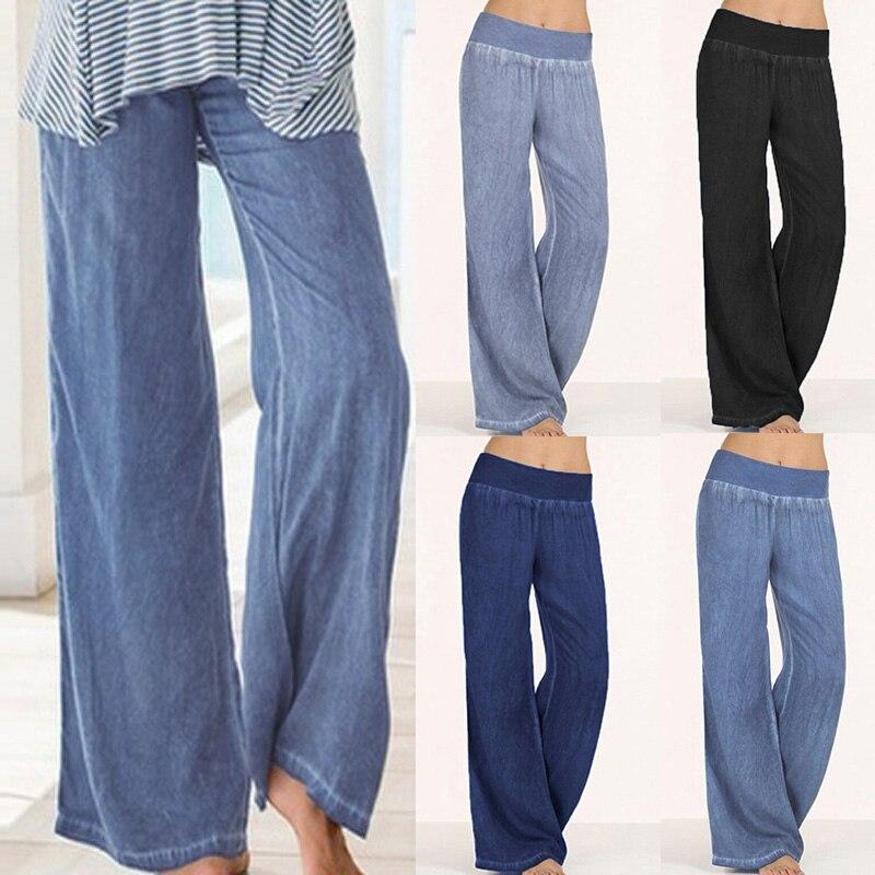 2019 Celmia Women Denim   Wide     Leg     Pants   Fashion Lady High Elastic Waist Long Trousers Pantalon Femme Casual Loose Plus Size Jeans