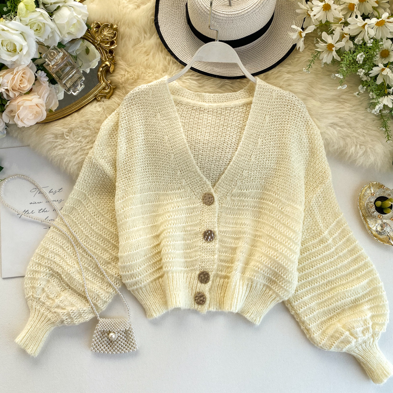 2019 New Spring Loose Cardigan Women Hollow Sweater Coat Retro V-neck Solid Color Short Thin Coat Cc1748