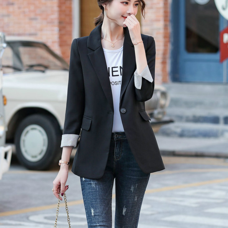 2020 new Korean spring and summer casual mid-sleeved small suit jacket Ladies work clothes Slim blazer feminine high quality