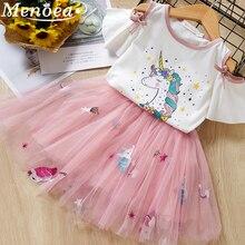 Menoea niñas vestido de verano animales patrón de tela de malla niños lindo vestido de princesa bebé fiesta Niñas Ropa de dibujos animados vestidos de niño