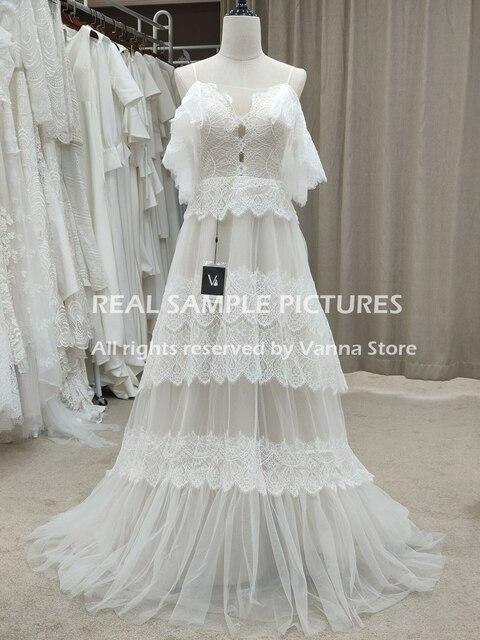 Bohemian Boho Beach Garden Bridal Gown Lace Champagne Spaghetti Straps Backless Destination Wedding Dress Vestido De Noiva #1241 4